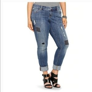 Torrid, Skinny Distressed Patched Jeans, 20